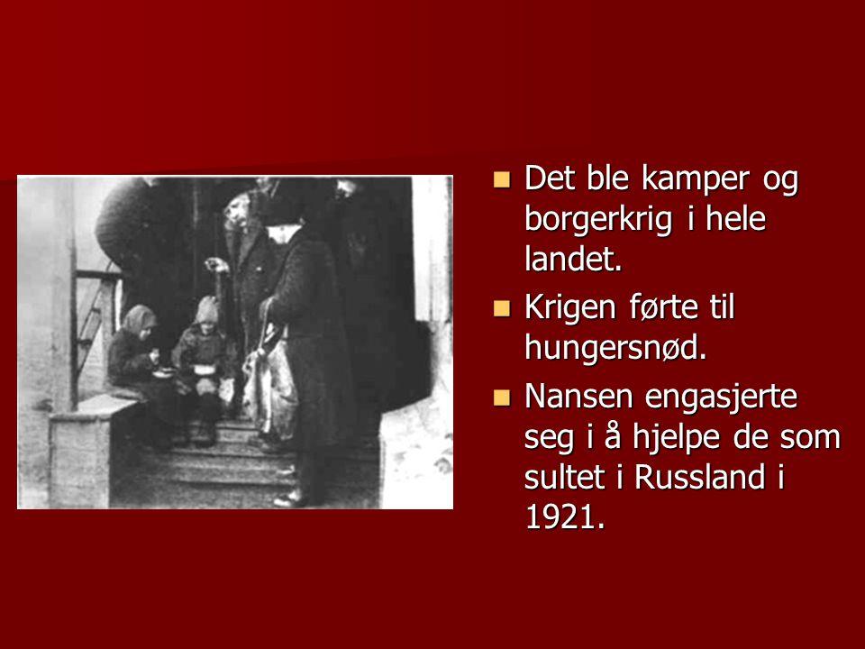  Det ble kamper og borgerkrig i hele landet.  Krigen førte til hungersnød.  Nansen engasjerte seg i å hjelpe de som sultet i Russland i 1921.