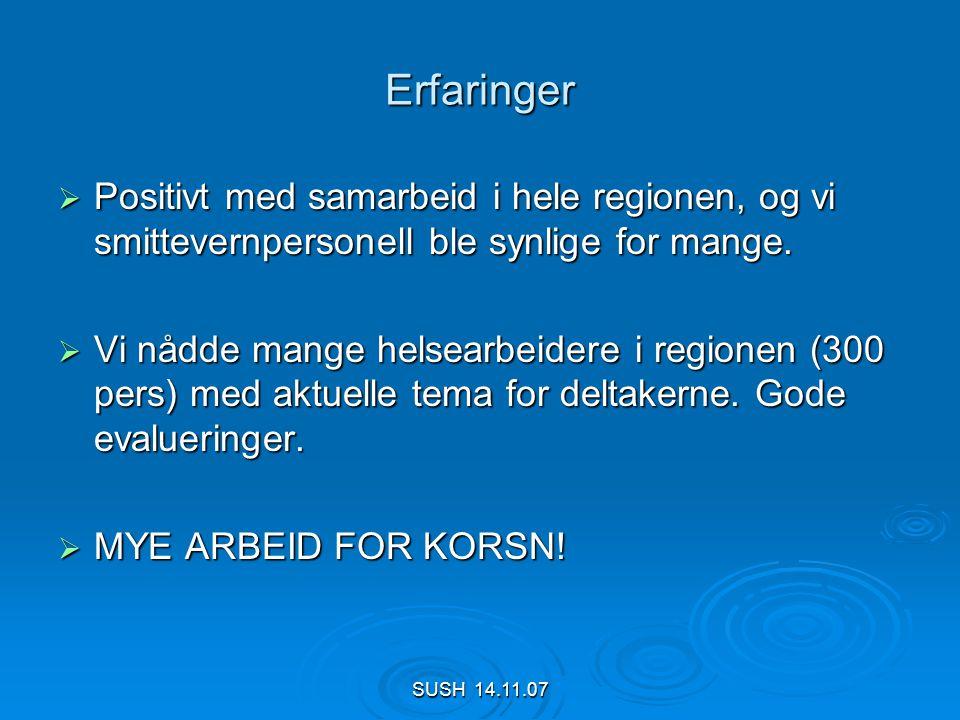 SUSH 14.11.07 Erfaringer  Positivt med samarbeid i hele regionen, og vi smittevernpersonell ble synlige for mange.
