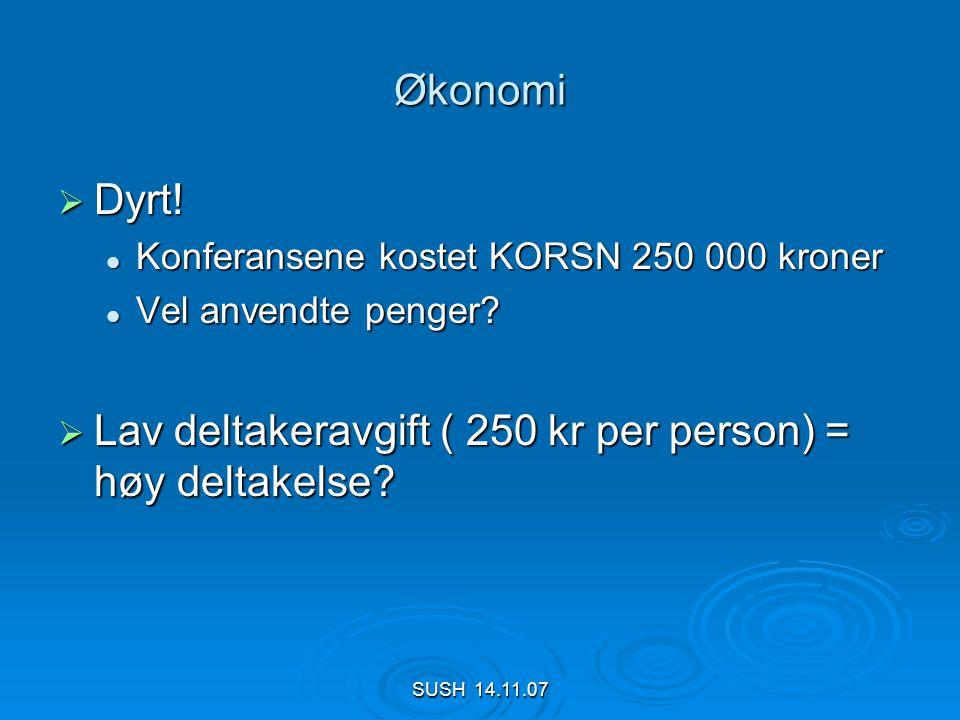 SUSH 14.11.07 Økonomi  Dyrt.  Konferansene kostet KORSN 250 000 kroner  Vel anvendte penger.