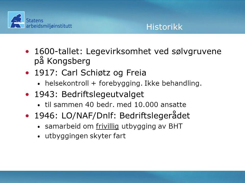 Historikk •1600-tallet: Legevirksomhet ved sølvgruvene på Kongsberg •1917: Carl Schiøtz og Freia • helsekontroll + forebygging.