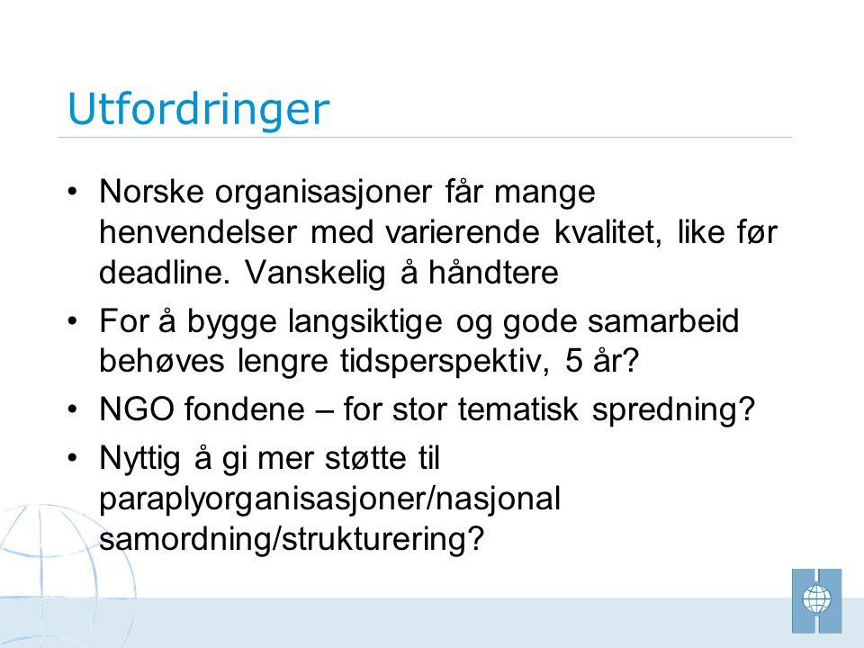 Utfordringer • Norske organisasjoner får mange henvendelser med varierende kvalitet, like før deadline. Vanskelig å håndtere • For å bygge langsiktige