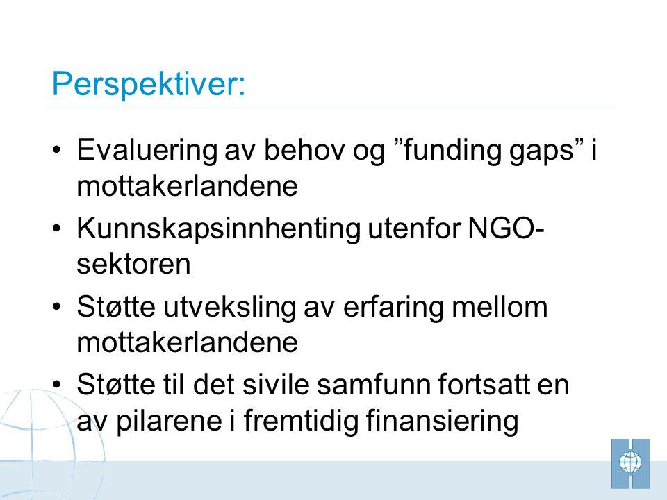 Perspektiver: •Evaluering av behov og funding gaps i mottakerlandene •Kunnskapsinnhenting utenfor NGO- sektoren •Støtte utveksling av erfaring mellom mottakerlandene •Støtte til det sivile samfunn fortsatt en av pilarene i fremtidig finansiering