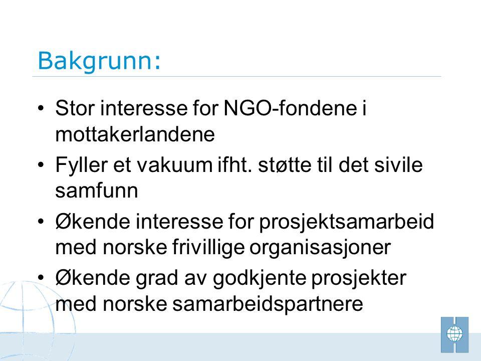 Bakgrunn: • Stor interesse for NGO-fondene i mottakerlandene • Fyller et vakuum ifht. støtte til det sivile samfunn • Økende interesse for prosjektsam