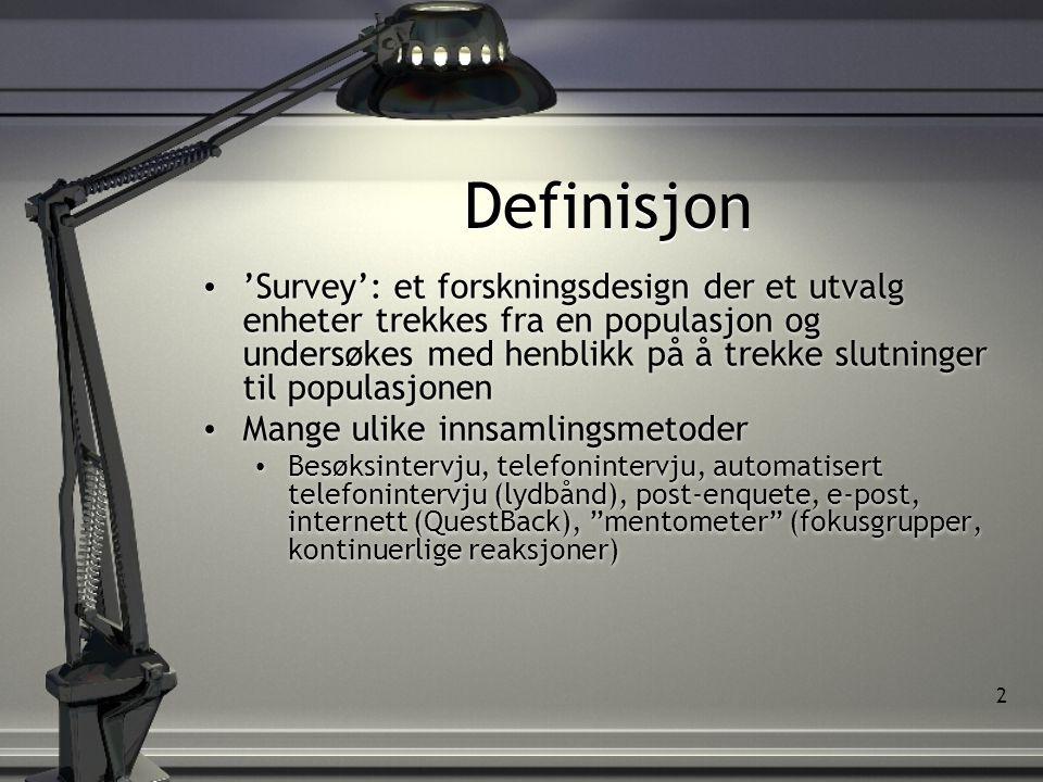 2 Definisjon • 'Survey': et forskningsdesign der et utvalg enheter trekkes fra en populasjon og undersøkes med henblikk på å trekke slutninger til populasjonen • Mange ulike innsamlingsmetoder • Besøksintervju, telefonintervju, automatisert telefonintervju (lydbånd), post-enquete, e-post, internett (QuestBack), mentometer (fokusgrupper, kontinuerlige reaksjoner) • 'Survey': et forskningsdesign der et utvalg enheter trekkes fra en populasjon og undersøkes med henblikk på å trekke slutninger til populasjonen • Mange ulike innsamlingsmetoder • Besøksintervju, telefonintervju, automatisert telefonintervju (lydbånd), post-enquete, e-post, internett (QuestBack), mentometer (fokusgrupper, kontinuerlige reaksjoner)