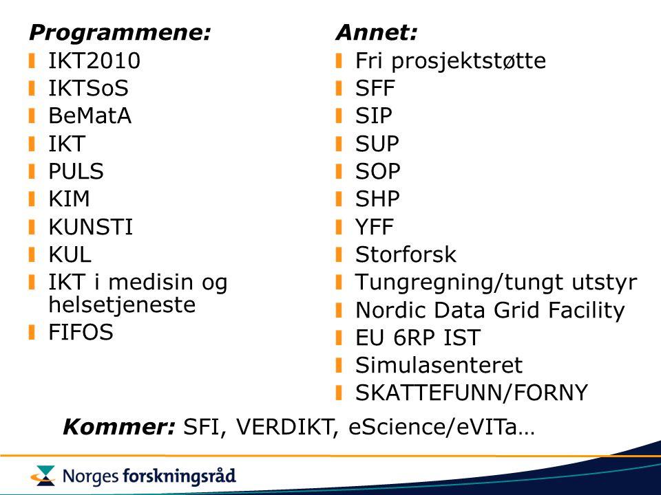 Programmene: IKT2010 IKTSoS BeMatA IKT PULS KIM KUNSTI KUL IKT i medisin og helsetjeneste FIFOS Annet: Fri prosjektstøtte SFF SIP SUP SOP SHP YFF Storforsk Tungregning/tungt utstyr Nordic Data Grid Facility EU 6RP IST Simulasenteret SKATTEFUNN/FORNY Kommer: SFI, VERDIKT, eScience/eVITa…