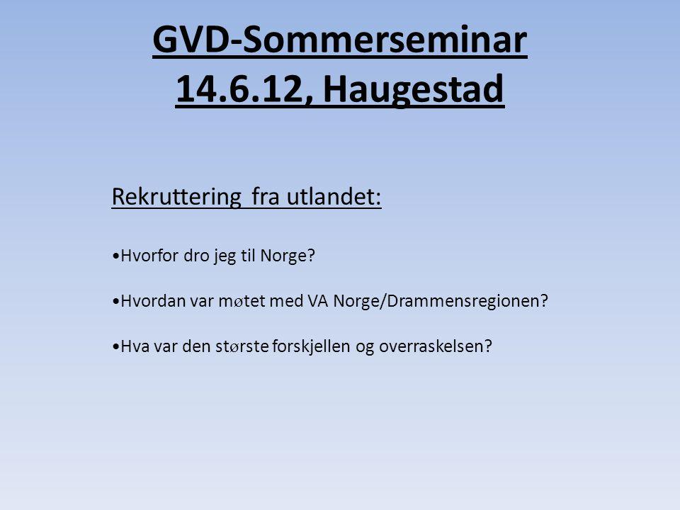 GVD-Sommerseminar 14.6.12, Haugestad Rekruttering fra utlandet: •Hvorfor dro jeg til Norge.