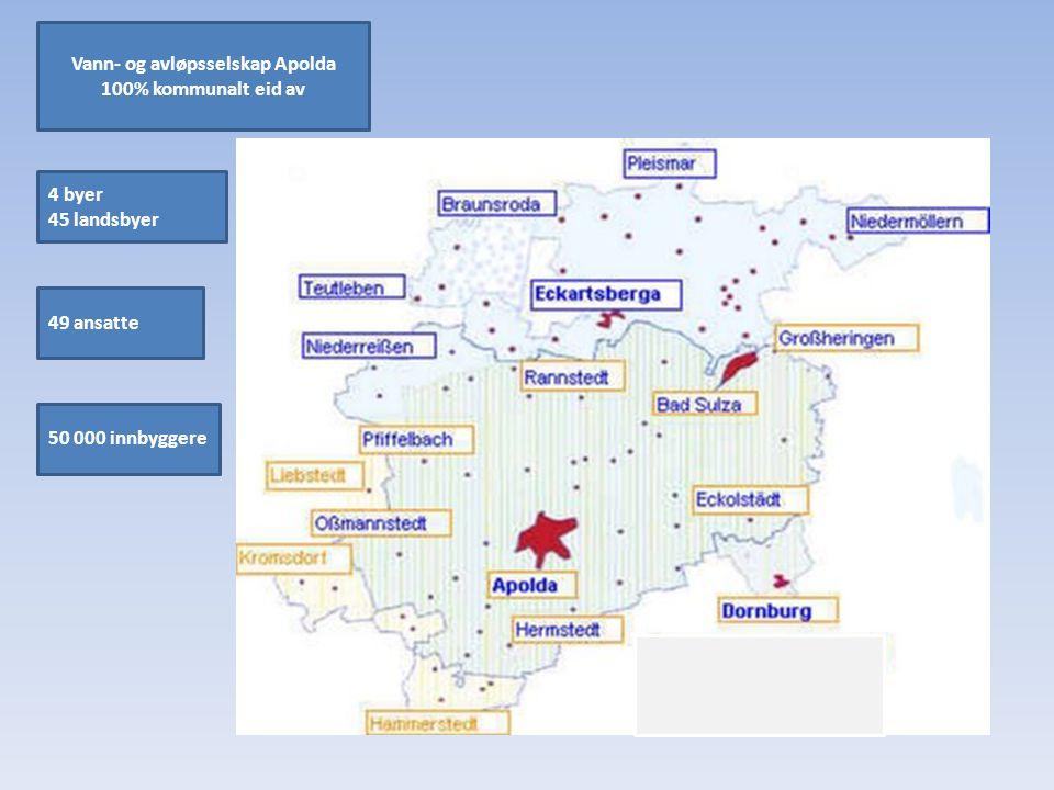 50 000 innbyggere Vann- og avløpsselskap Apolda 100% kommunalt eid av 49 ansatte 4 byer 45 landsbyer