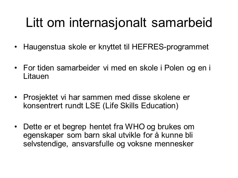 Litt om internasjonalt samarbeid •Haugenstua skole er knyttet til HEFRES-programmet •For tiden samarbeider vi med en skole i Polen og en i Litauen •Pr