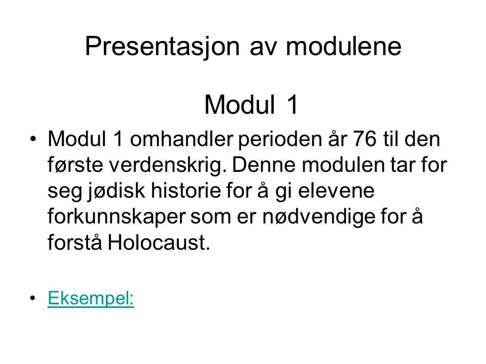 Presentasjon av modulene Modul 1 •Modul 1 omhandler perioden år 76 til den første verdenskrig. Denne modulen tar for seg jødisk historie for å gi elev