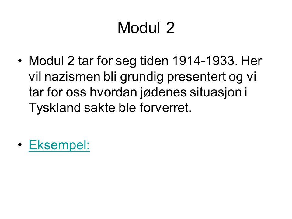 Modul 2 •Modul 2 tar for seg tiden 1914-1933. Her vil nazismen bli grundig presentert og vi tar for oss hvordan jødenes situasjon i Tyskland sakte ble
