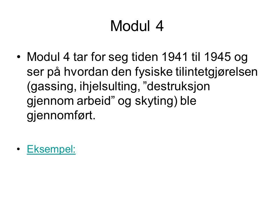 """Modul 4 •Modul 4 tar for seg tiden 1941 til 1945 og ser på hvordan den fysiske tilintetgjørelsen (gassing, ihjelsulting, """"destruksjon gjennom arbeid"""""""