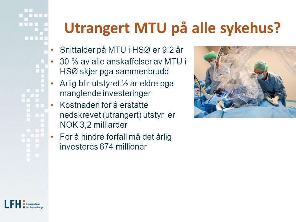 Utrangert MTU på alle sykehus? •Snittalder på MTU i HSØ er 9,2 år •30 % av alle anskaffelser av MTU i HSØ skjer pga sammenbrudd •Årlig blir utstyret ½