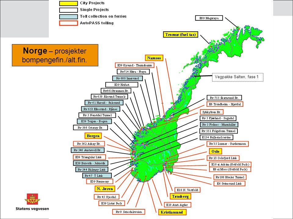 Norge – prosjekter bompengefin./alt.fin. Vegpakke Salten, fase 1
