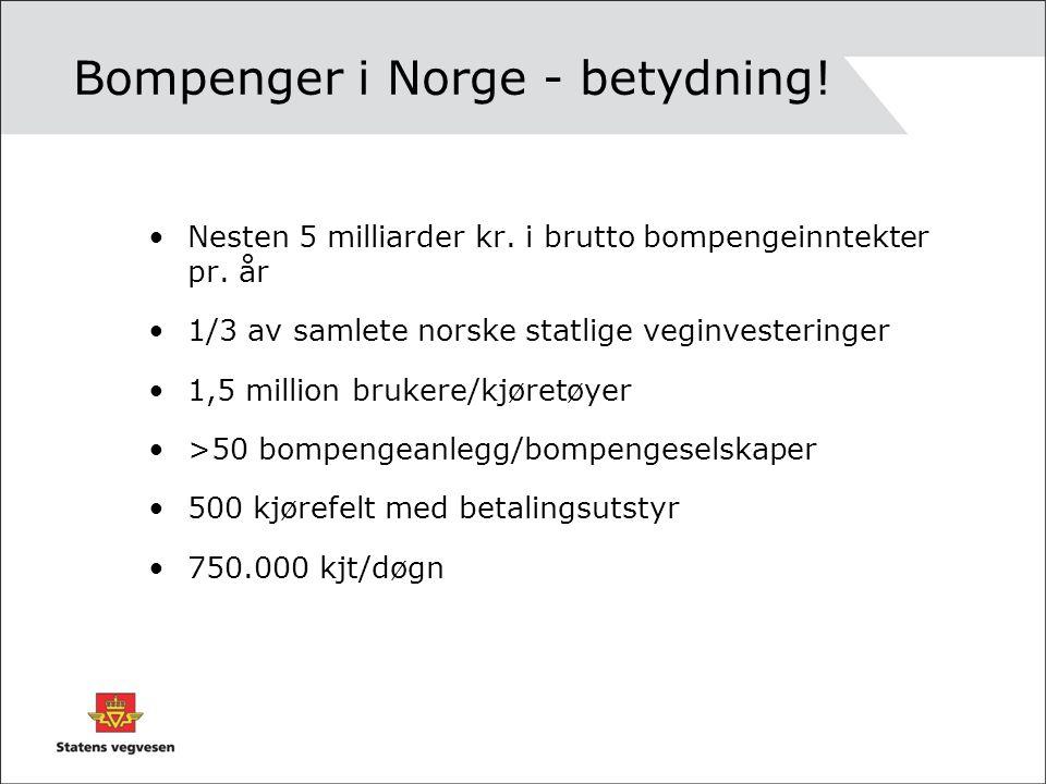 Bompenger i Norge - betydning! •Nesten 5 milliarder kr. i brutto bompengeinntekter pr. år •1/3 av samlete norske statlige veginvesteringer •1,5 millio