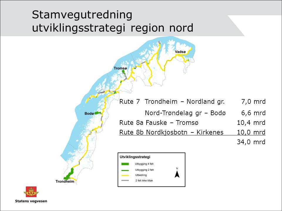 Stamvegutredning utviklingsstrategi region nord Rute 7 Trondheim – Nordland gr. 7,0 mrd Nord-Trøndelag gr – Bodø 6,6 mrd Rute 8a Fauske – Tromsø10,4 m