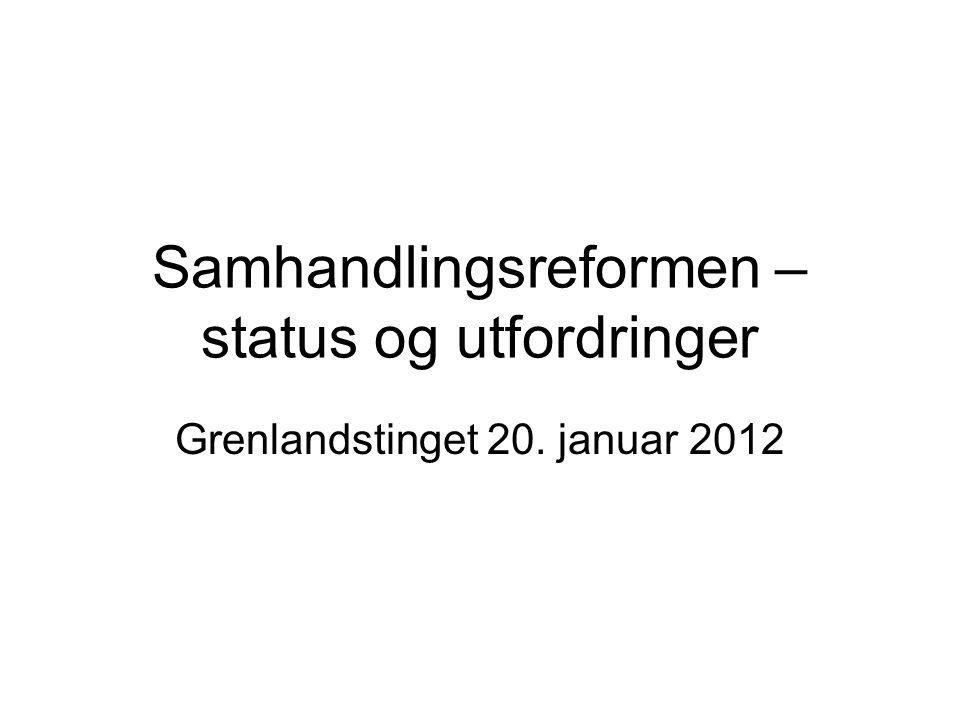 Samhandlingsreformen – status og utfordringer Grenlandstinget 20. januar 2012
