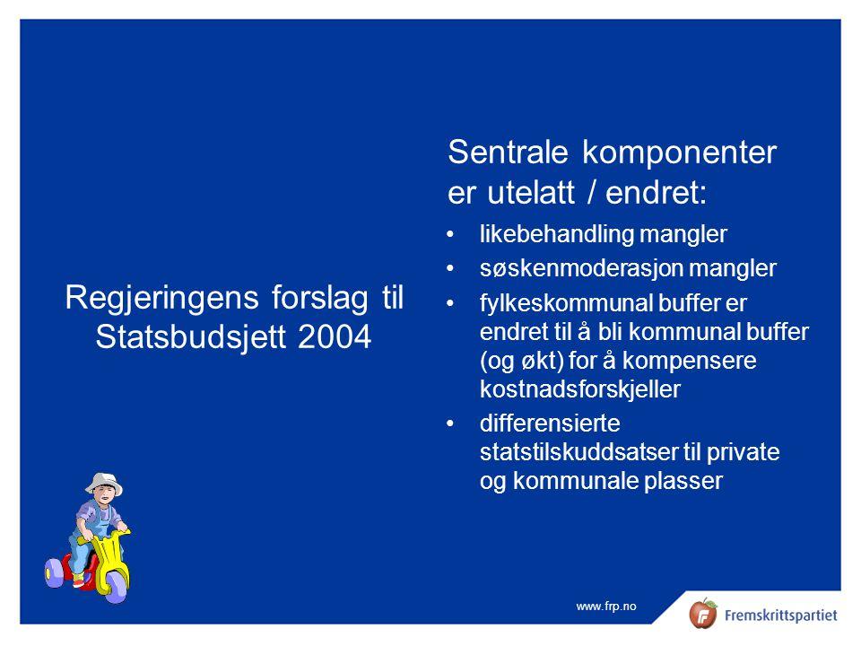 www.frp.no Regjeringens forslag til Statsbudsjett 2004 Sentrale komponenter er utelatt / endret: •likebehandling mangler •søskenmoderasjon mangler •fy