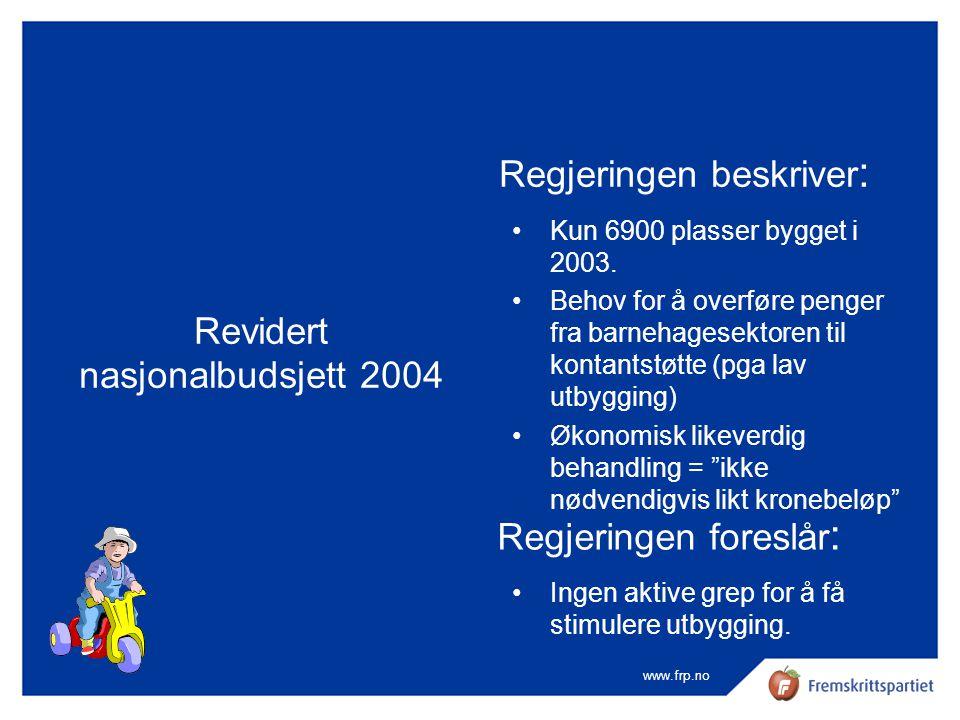 www.frp.no Revidert nasjonalbudsjett 2004 Regjeringen beskriver : •Kun 6900 plasser bygget i 2003. •Behov for å overføre penger fra barnehagesektoren