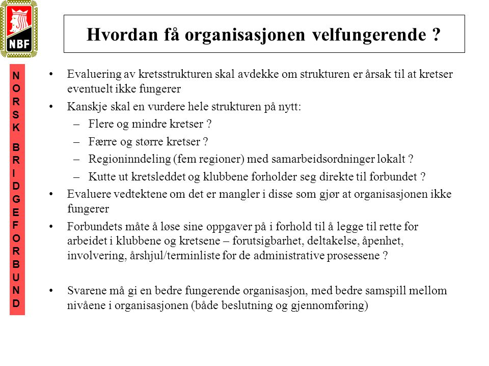 NORSKBRIDGEFORBUNDNORSKBRIDGEFORBUND Hvordan få organisasjonen velfungerende .