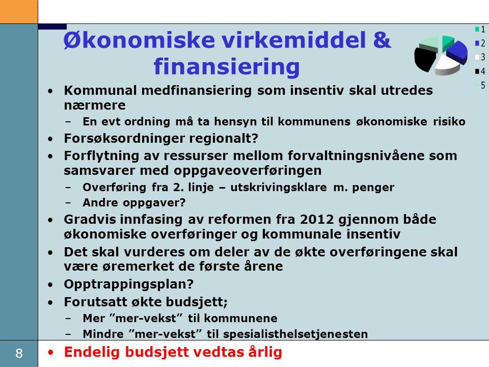 19 Ny plan for helse- og omsorgstjenester •Et bredt folkehelse- perspektiv; et friskere Norge med mindre sosial ulikhet •Konkretisering av samhandlingsreformen inkl.