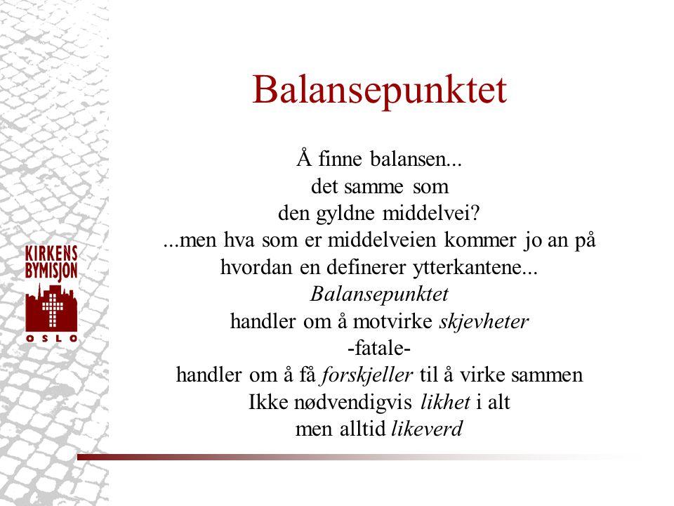 Balansepunktet Å finne balansen...
