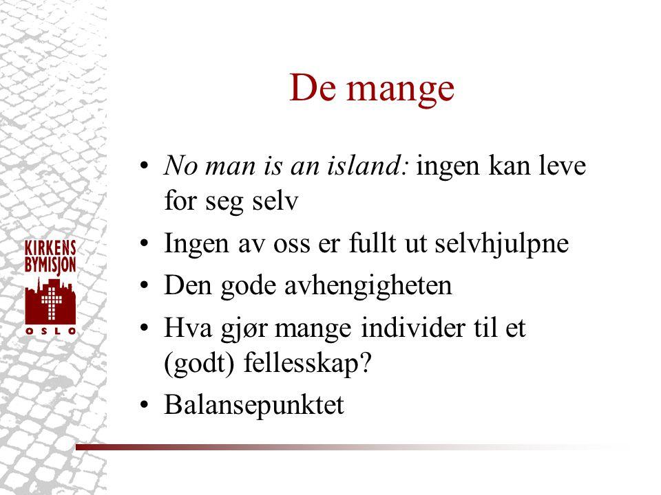 De mange •No man is an island: ingen kan leve for seg selv •Ingen av oss er fullt ut selvhjulpne •Den gode avhengigheten •Hva gjør mange individer til et (godt) fellesskap.