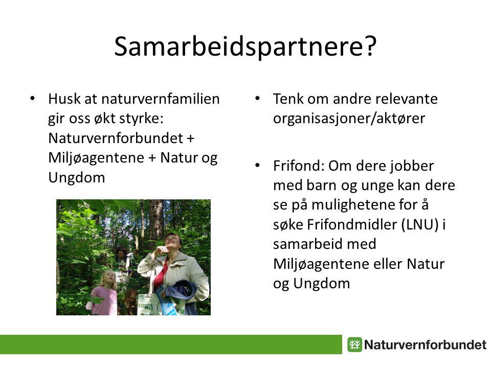 Samarbeidspartnere? • Husk at naturvernfamilien gir oss økt styrke: Naturvernforbundet + Miljøagentene + Natur og Ungdom • Tenk om andre relevante org