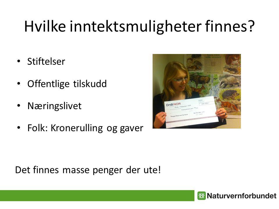 Hvilke inntektsmuligheter finnes? • Stiftelser • Offentlige tilskudd • Næringslivet • Folk: Kronerulling og gaver Det finnes masse penger der ute!