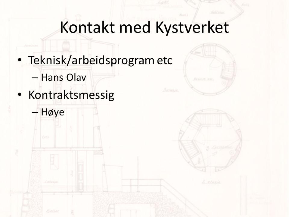 Kontakt med Kystverket • Teknisk/arbeidsprogram etc – Hans Olav • Kontraktsmessig – Høye