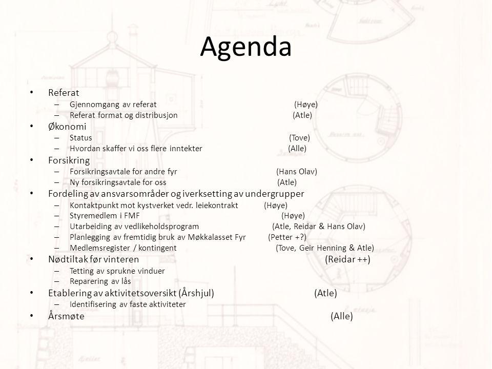 Agenda • Referat – Gjennomgang av referat (Høye) – Referat format og distribusjon (Atle) • Økonomi – Status (Tove) – Hvordan skaffer vi oss flere inntekter (Alle) • Forsikring – Forsikringsavtale for andre fyr (Hans Olav) – Ny forsikringsavtale for oss (Atle) • Fordeling av ansvarsområder og iverksetting av undergrupper – Kontaktpunkt mot kystverket vedr.