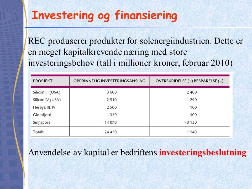 Investering og finansiering REC produserer produkter for solenergiindustrien. Dette er en meget kapitalkrevende næring med store investeringsbehov (ta