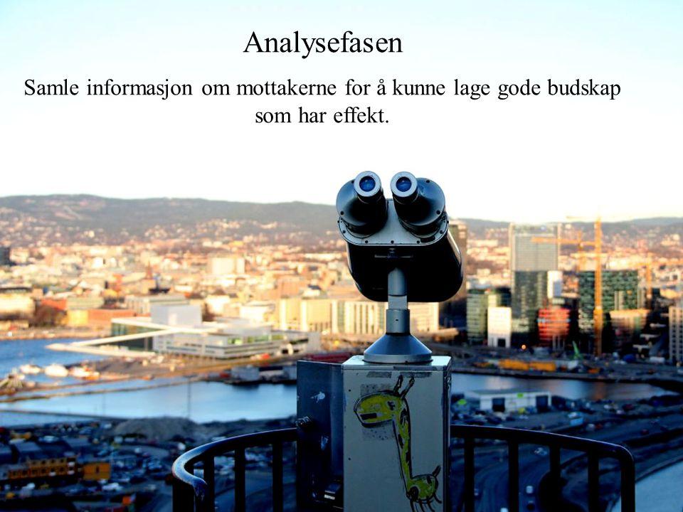 Analysefasen Samle informasjon om mottakerne for å kunne lage gode budskap som har effekt.