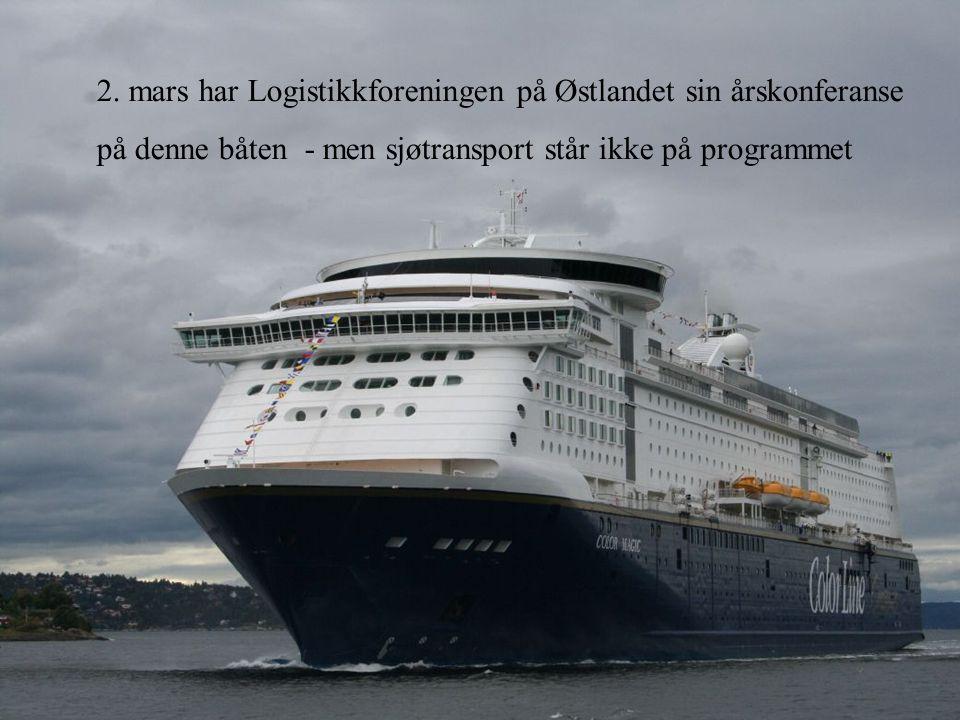 2. mars har Logistikkforeningen på Østlandet sin årskonferanse på denne båten - men sjøtransport står ikke på programmet