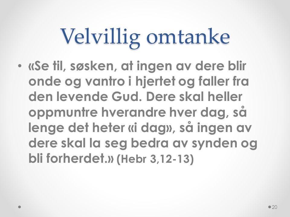 Velvillig omtanke • «Se til, søsken, at ingen av dere blir onde og vantro i hjertet og faller fra den levende Gud. Dere skal heller oppmuntre hverandr