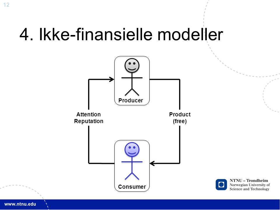 12 4. Ikke-finansielle modeller Attention Reputation Product (free) Consumer Producer