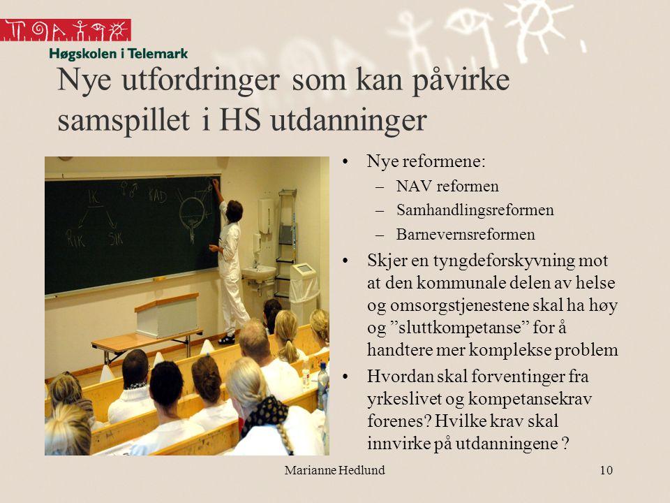 Nye utfordringer som kan påvirke samspillet i HS utdanninger •Nye reformene: –NAV reformen –Samhandlingsreformen –Barnevernsreformen •Skjer en tyngdef