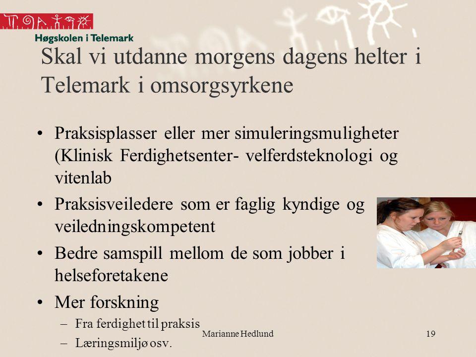 Skal vi utdanne morgens dagens helter i Telemark i omsorgsyrkene •Praksisplasser eller mer simuleringsmuligheter (Klinisk Ferdighetsenter- velferdstek