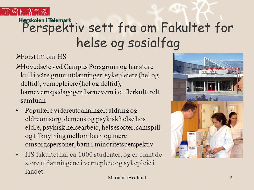 Marianne Hedlund2 Perspektiv sett fra om Fakultet for helse og sosialfag  Først litt om HS  Hovedsete ved Campus Porsgrunn og har store kull i våre