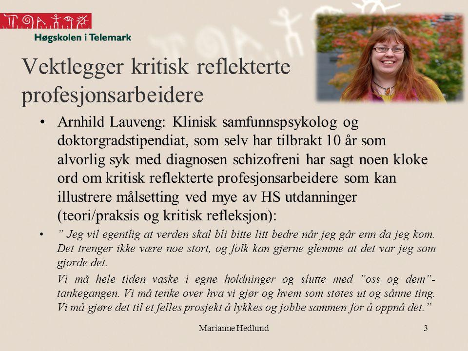 Vektlegger kritisk reflekterte profesjonsarbeidere •Arnhild Lauveng: Klinisk samfunnspsykolog og doktorgradstipendiat, som selv har tilbrakt 10 år som
