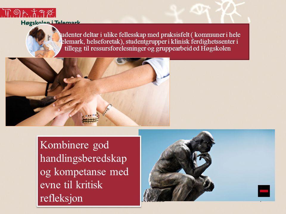 Studenter deltar i ulike fellesskap med praksisfelt ( kommuner i hele Telemark, helseforetak), studentgrupper i klinisk ferdighetssenter i tillegg til