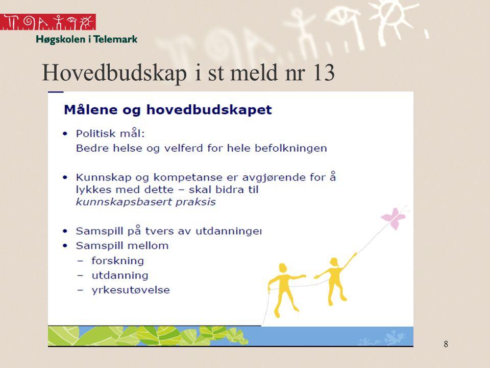 Andre forventinger framover knyttet til høyere utdanning i helsefagene •høyere utdanning fra st meld nr 13høyere utdanning fra st meld nr 13 Marianne Hedlund9