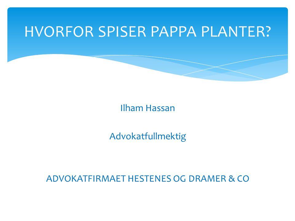 Ilham Hassan Advokatfullmektig ADVOKATFIRMAET HESTENES OG DRAMER & CO HVORFOR SPISER PAPPA PLANTER?
