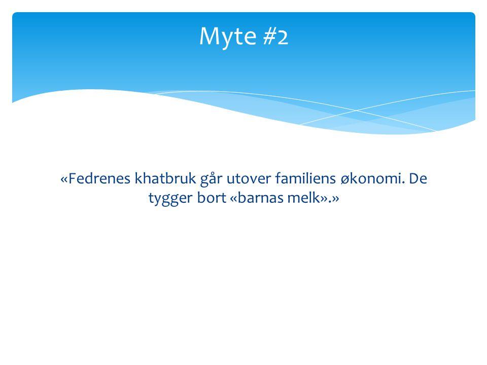 «Fedrenes khatbruk går utover familiens økonomi. De tygger bort «barnas melk».» Myte #2