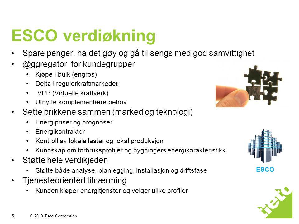 © 2010 Tieto Corporation ESCO verdiøkning •Spare penger, ha det gøy og gå til sengs med god samvittighet •@ggregator for kundegrupper •Kjøpe i bulk (e