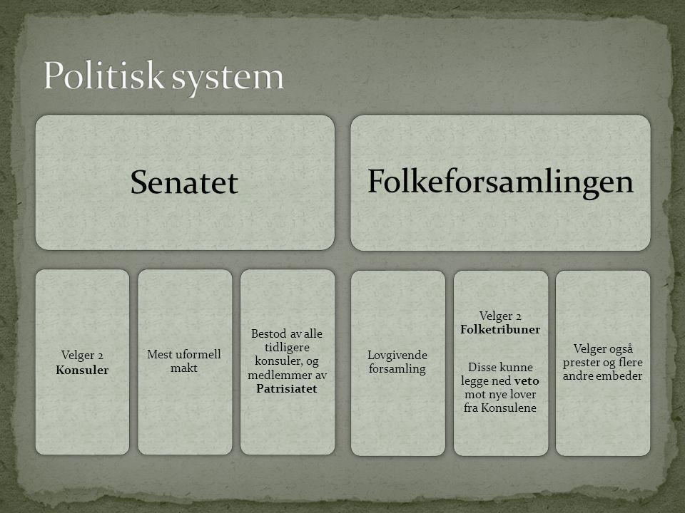 Senatet Velger 2 Konsuler Mest uformell makt Bestod av alle tidligere konsuler, og medlemmer av Patrisiatet Folkeforsamlingen Lovgivende forsamling Ve