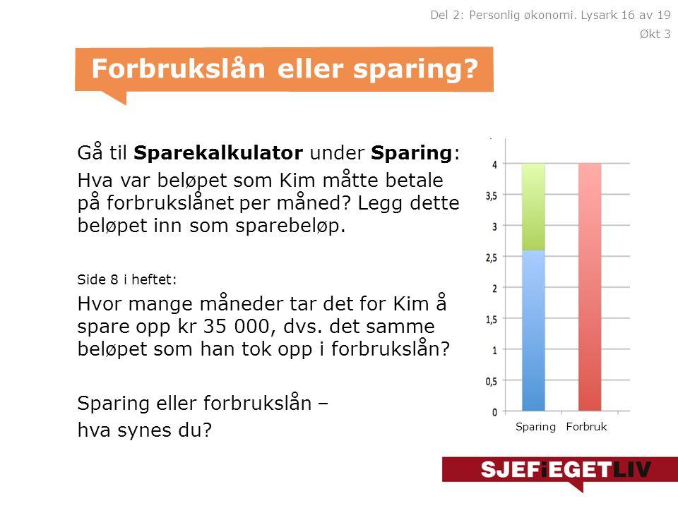 Gå til Sparekalkulator under Sparing: Hva var beløpet som Kim måtte betale på forbrukslånet per måned.