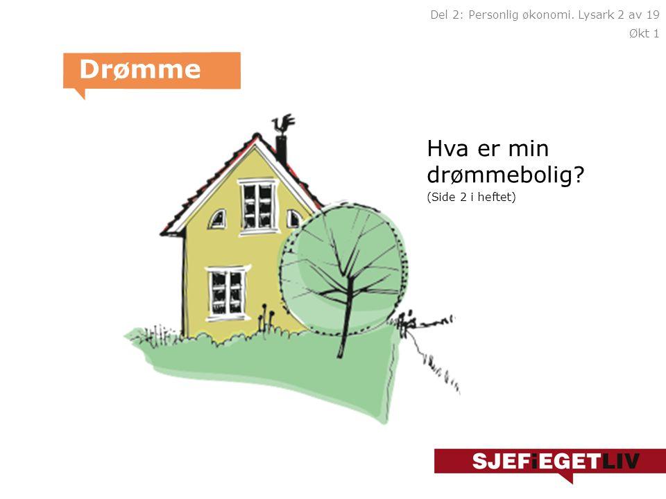Hva er min drømmebolig? (Side 2 i heftet) Drømme Del 2: Personlig økonomi. Lysark 2 av 19 Økt 1