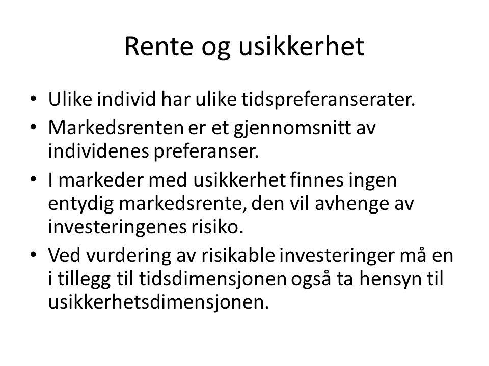 Rente og usikkerhet • Ulike individ har ulike tidspreferanserater. • Markedsrenten er et gjennomsnitt av individenes preferanser. • I markeder med usi