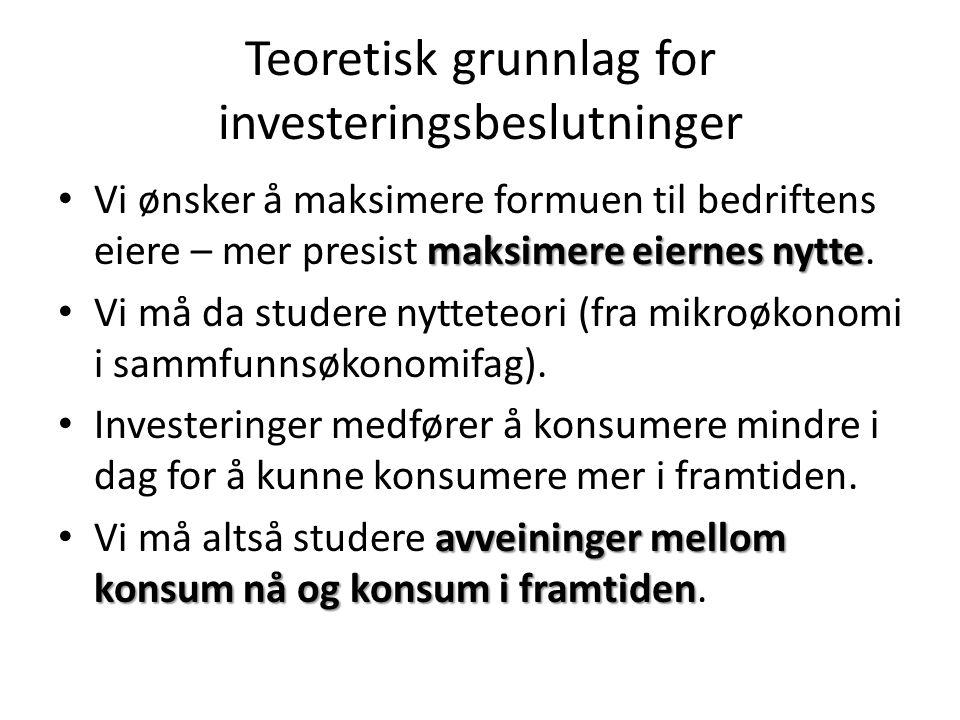 Teoretisk grunnlag for investeringsbeslutninger maksimere eiernes nytte • Vi ønsker å maksimere formuen til bedriftens eiere – mer presist maksimere e