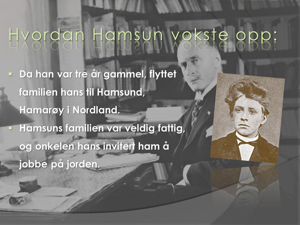  Da han var tre år gammel, flyttet familien hans til Hamsund, Hamarøy i Nordland.  Hamsuns familien var veldig fattig, og onkelen hans invitert ham